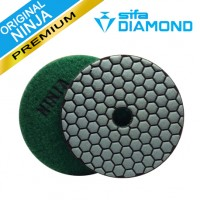 4 INCH SUPER NINJA DRY POLISHING PADS Green/GRIT 50 QRS for GRANITE, MARBLE, CONCRETE, CONCRETE /MARBLE MIXTURES