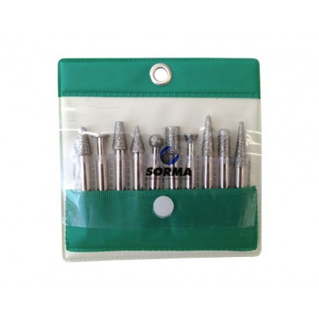 SET OF 10 ELECTROPLATED MOUNTED POINTS