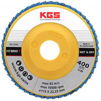 DIAMOND FLAP DISC KGS Hybrid® T 4,5 INCH/22,23 GRIT 400 per SANDING on GRANITE, NATURAL STONE, MARBLE AND CONCRETE